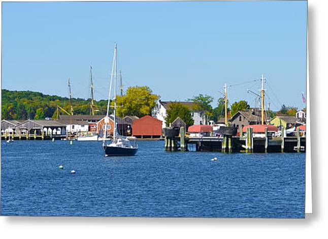 Docked Sailboat Greeting Cards - Mystic Seaport -  Connecticut Panorama Greeting Card by Bill Cannon