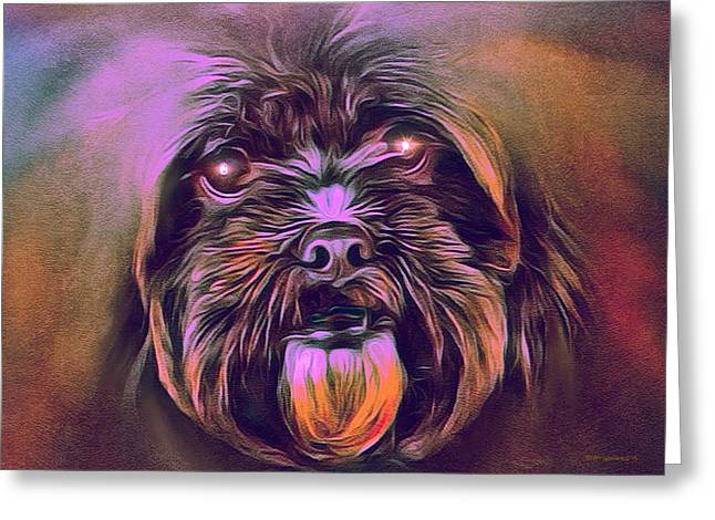 Puppy Digital Art Greeting Cards - Mystic Terrier Portrait Greeting Card by Scott Wallace