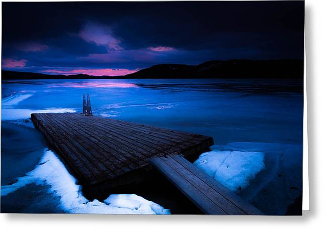 Mystic Lakes Greeting Cards - Mystic Water Jetty Greeting Card by Enzo Paredes