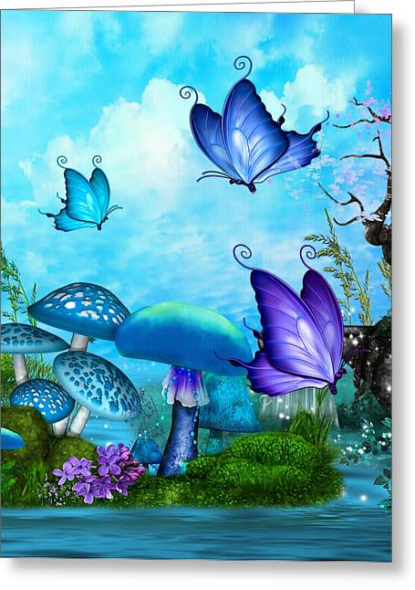 Purple Mushrooms Greeting Cards - Mystic Whimsey Fantasy Folk Art Greeting Card by Sharon and Renee Lozen