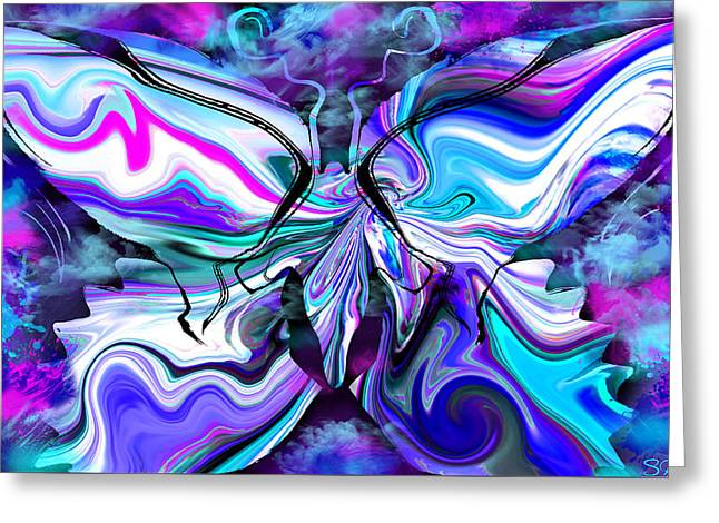 Focal Color Art Greeting Cards - Mystical Butterfly in misty blues Greeting Card by Stephen  Killeen