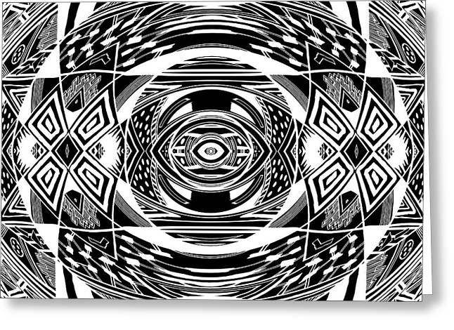 Geometric Artwork Drawings Greeting Cards - Mystical Eye - Abstract Black And White Graphic Drawing Greeting Card by Nenad  Cerovic