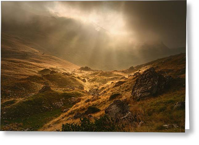 Mystical Landscape Greeting Cards - Mystical highland Greeting Card by Radisa Zivkovic