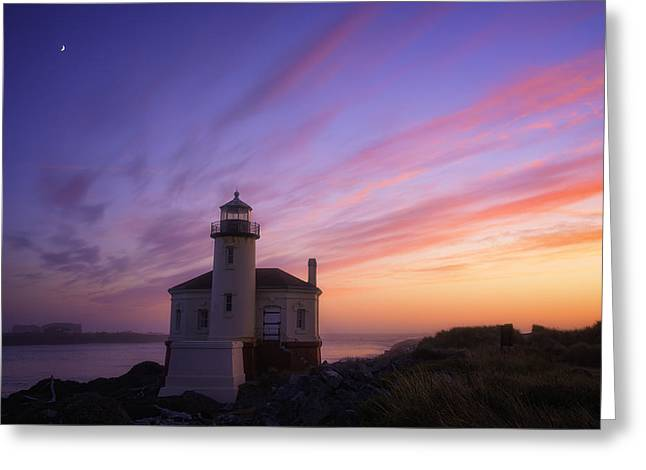 Oregon Lighthouse Image Greeting Cards - Mystical Sunset Greeting Card by Darren  White