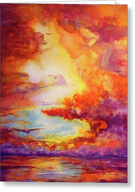 Mystical Sunset Greeting Card by Estela Robles