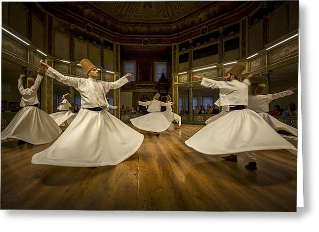 Istanbul Greeting Cards - Mystics Dancers Greeting Card by Walde Jansky