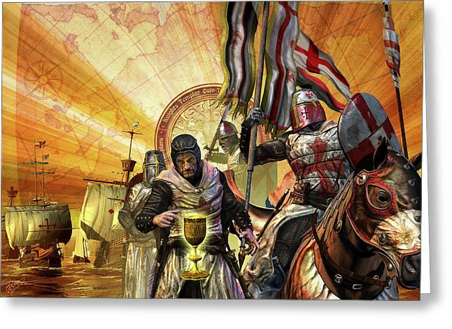 Knighted Mixed Media Greeting Cards - Mytery of the Templar Knight Greeting Card by Kurt Miller