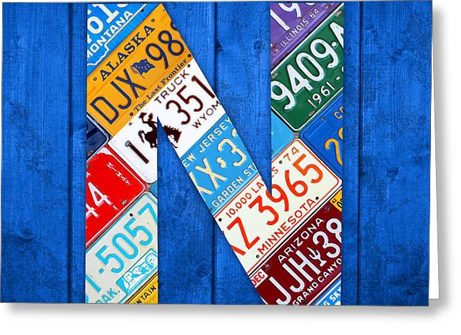 Background Mixed Media Greeting Cards - N License Plate Letter Art Blue Background Greeting Card by Design Turnpike
