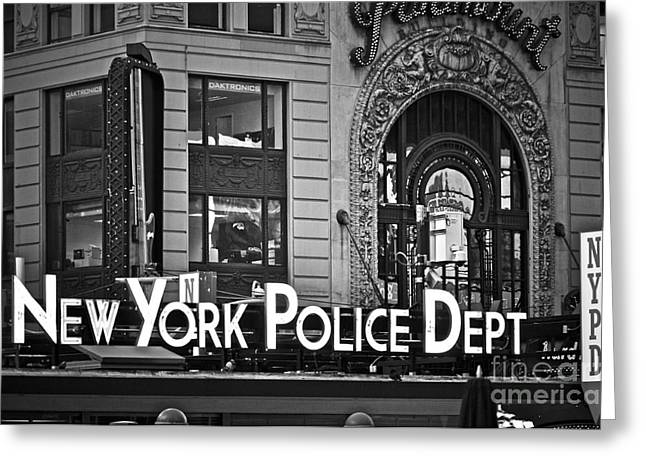 Police Department Greeting Cards - N Y P D Greeting Card by Gwyn Newcombe
