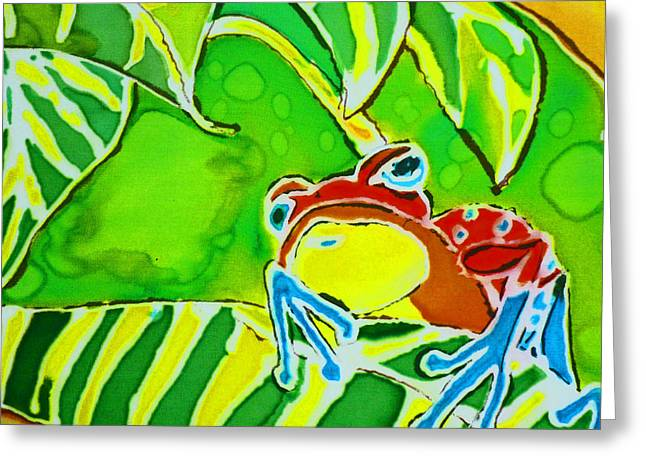 Tree Frog Tapestries - Textiles Greeting Cards - Na Froggy Greeting Card by Kelly     ZumBerge