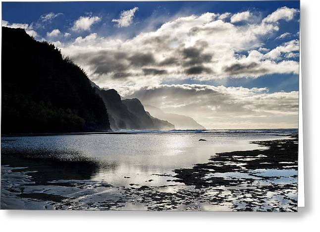 Scenic View Greeting Cards - Na Pali Coast Kauai Hawaii Greeting Card by Brendan Reals