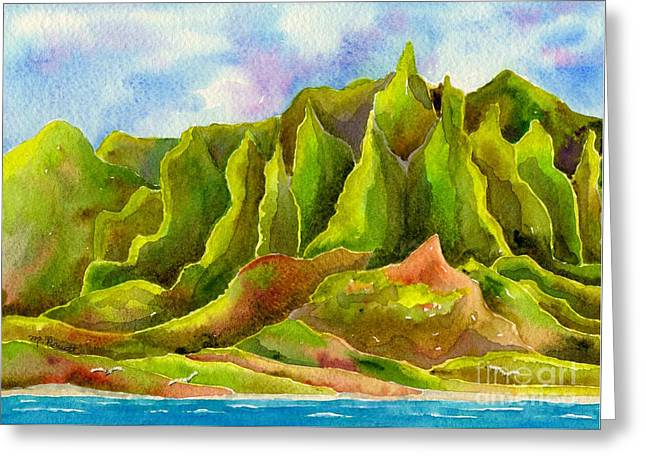 Craters Paintings Greeting Cards - Na Pali Coast Greeting Card by Melanie Pruitt