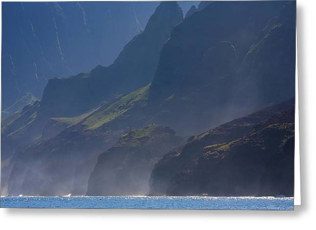 Rugged Cliffs Greeting Cards - Na Pali Morning Mist Greeting Card by Mike  Dawson