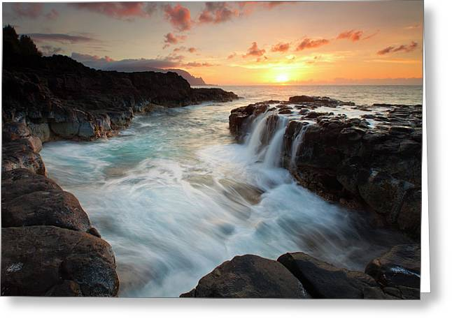 Sunset Seascape Greeting Cards - Na Pali Sunset Greeting Card by Mike  Dawson