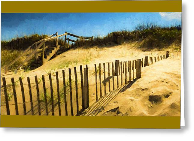 Wooden Stairs Greeting Cards - Nags Head Fence Greeting Card by Robert Meyerson