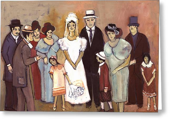 Naive Wedding Large Family White Bride Black Groom Red Women Girls Brown Men With Hats And Flowers Greeting Card by Rachel Hershkovitz