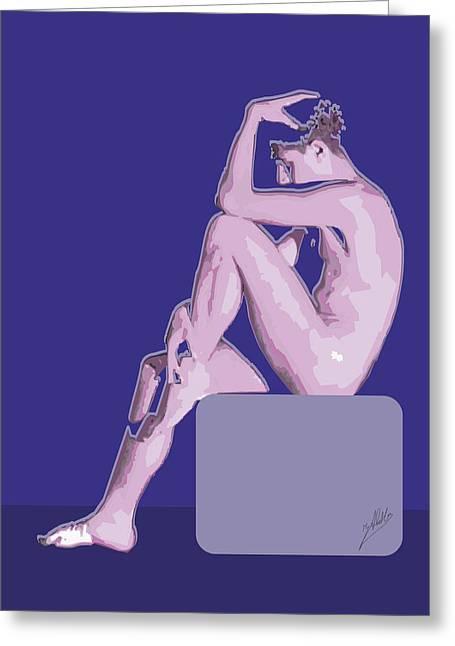 Modern Digital Art Digital Art Drawings Greeting Cards - Naked blue By Quim Abella Greeting Card by Joaquin Abella