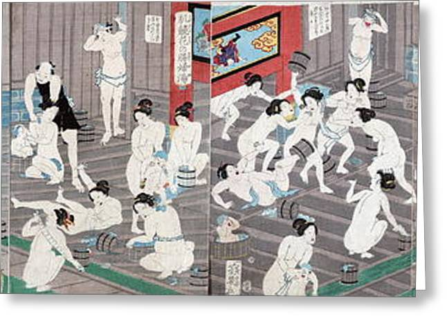 Public Bath Greeting Cards - Naked bodies Greeting Card by Toyohara Kunichika
