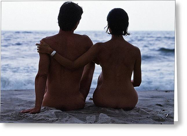 Mid Adult Women Photographs Greeting Cards - Naked Couple on Beach Greeting Card by Stan Fellerman