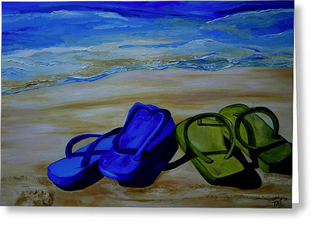 Beach House Paintings Greeting Cards - Naked Feet on the Beach Greeting Card by Patti Schermerhorn
