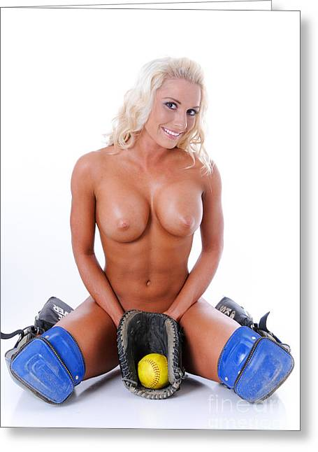 Girls Softball Greeting Cards - Naked Softball Greeting Card by Jt PhotoDesign