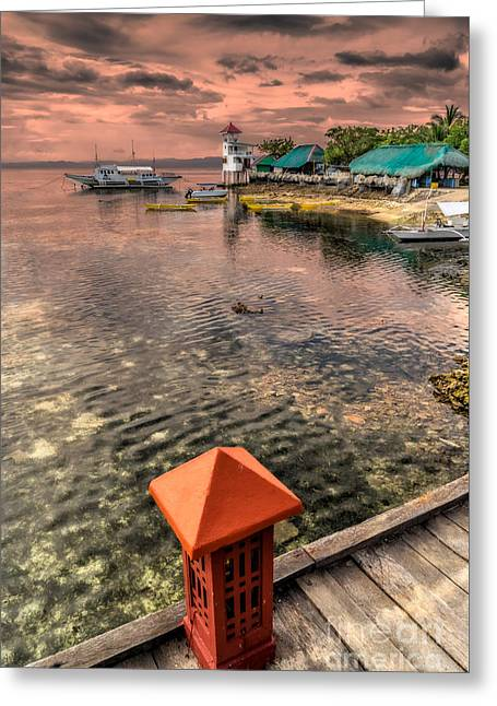 Pink Digital Greeting Cards - Nalusuan Island Sunset Greeting Card by Adrian Evans