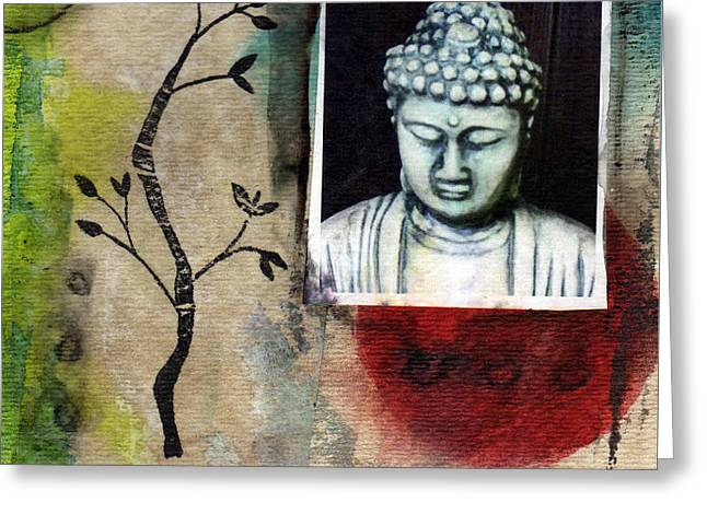 Namaste Buddha Greeting Card by Linda Woods