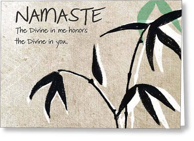 Brown Leaf Greeting Cards - Namaste Greeting Card by Linda Woods