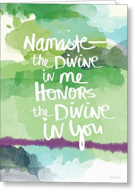 Namaste- Watercolor Card Greeting Card by Linda Woods