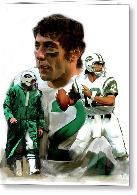 Fame Drawings Greeting Cards - Namath    Joe Namath Greeting Card by Iconic Images Art Gallery David Pucciarelli