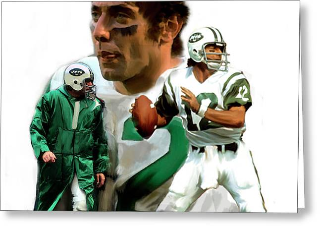 Namath  Joe Namath Greeting Card by Iconic Images Art Gallery David Pucciarelli