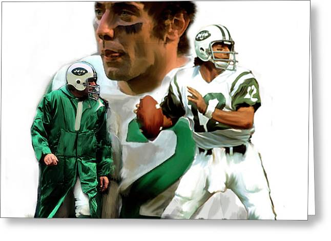 Smart Phone Greeting Cards - Namath  Joe Namath Greeting Card by Iconic Images Art Gallery David Pucciarelli