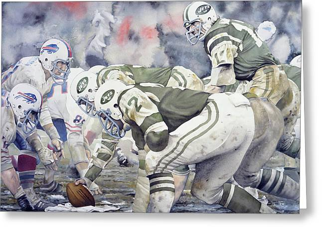 People Paintings Greeting Cards - Namath Greeting Card by Rich Marks