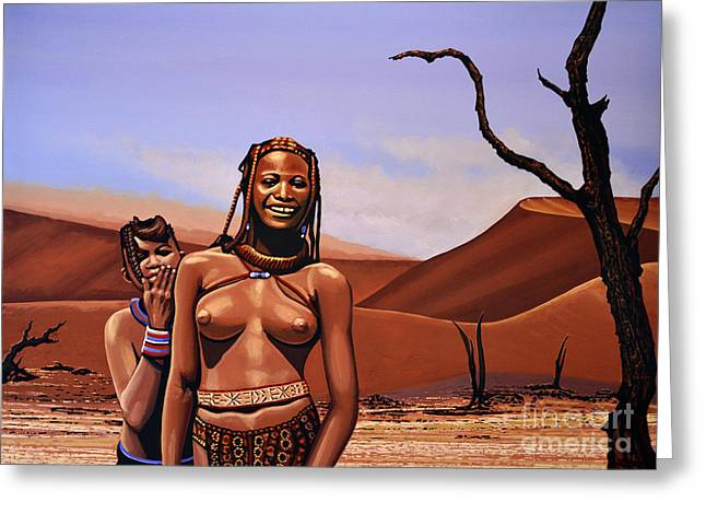 Greeting Cards - Himba Girls Of Namibia Greeting Card by Paul Meijering