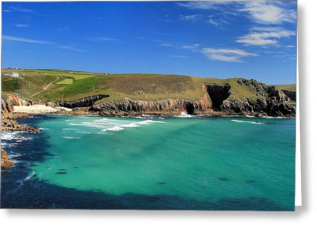 England Greeting Cards - Nanjizal Bay - Panoramic Greeting Card by Carl Whitfield