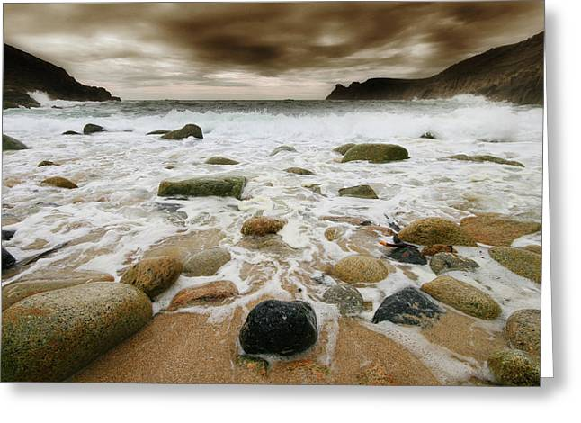 Offshore Rocks Greeting Cards - Nanjizal Storm Greeting Card by Mark Stokes