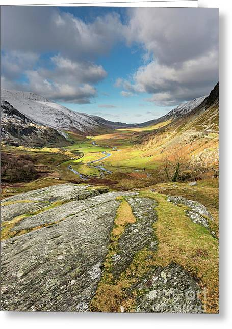 Nant Ffrancon Valley In Snowdonia Greeting Card by Adrian Evans