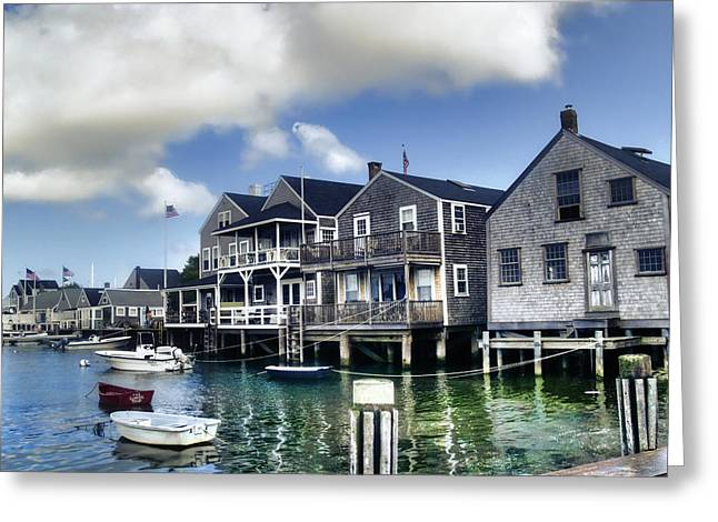 Docked Boats Greeting Cards - Nantucket Harbor in Summer Greeting Card by Tammy Wetzel