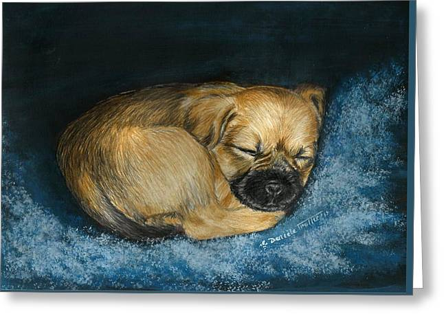 Puppies Mixed Media Greeting Cards - Nap Puppy Greeting Card by Daniele Trottier