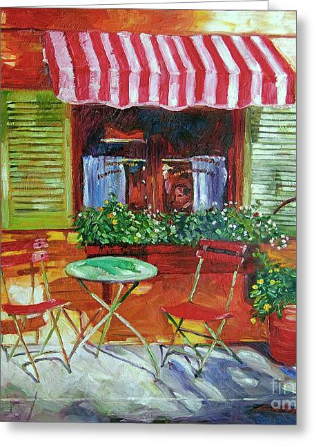 Table Wine Greeting Cards - Napa Bistro Greeting Card by David Lloyd Glover