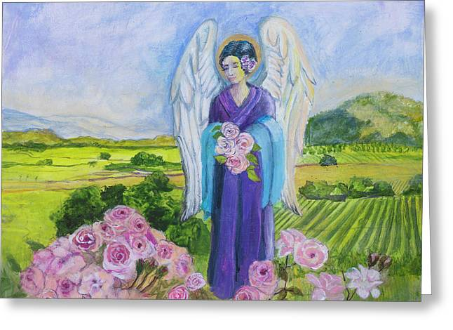 Napa Rose Angel Greeting Card by Priscilla Greenbaum