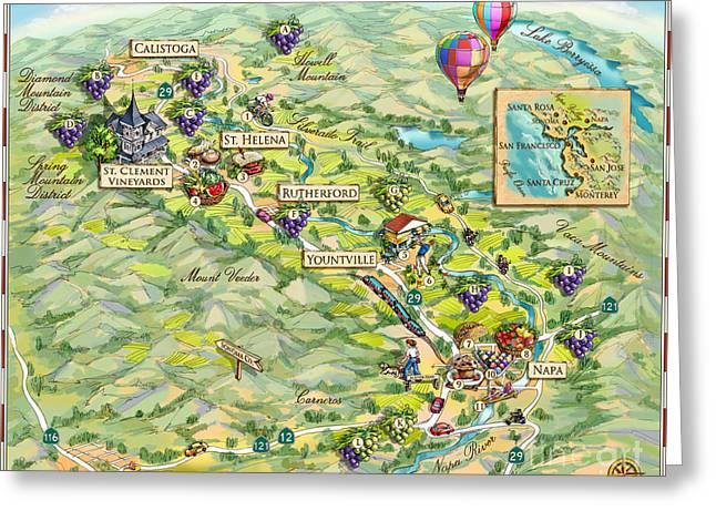 Napa Valley Illustrated Map Greeting Card by Maria Rabinky