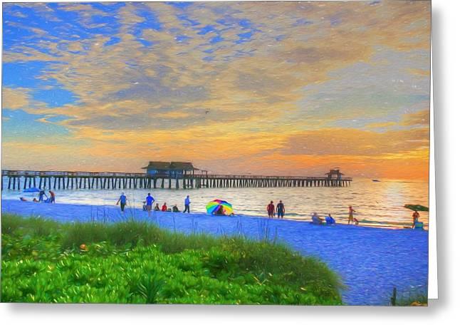Naples Beach Greeting Card by Sharon Batdorf