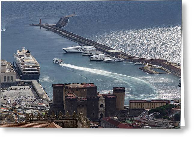 Naples Distinctive Harbor In Silver And Blue - Castles And Cruise Ships From Above Greeting Card by Georgia Mizuleva