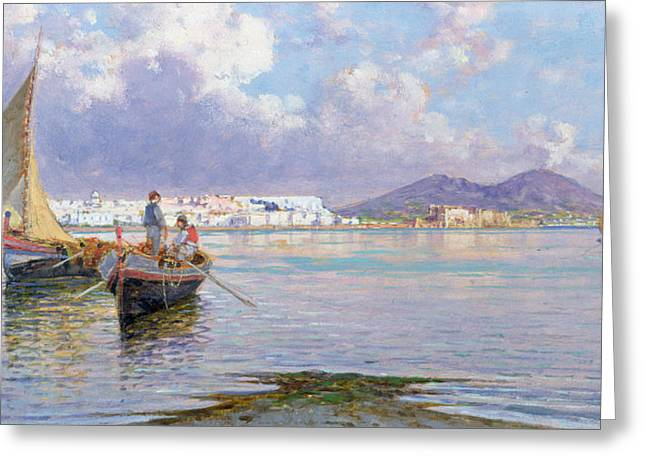 Fishermen Greeting Cards - Naples from Mergellina  Greeting Card by Giuseppe Carelli