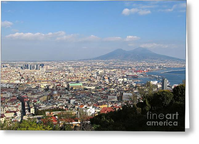 Naples Italy Greeting Cards - Naples Panoramic View Greeting Card by Kiril Stanchev