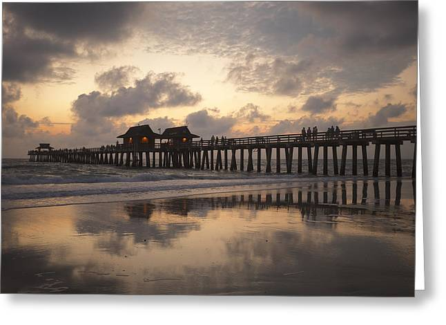 Naples Greeting Cards - Naples Pier Greeting Card by Heidi Hermes