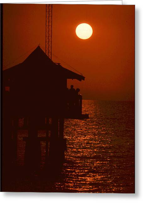 Forida Greeting Cards - Naples Pier Sunset Greeting Card by Michael L Kimble