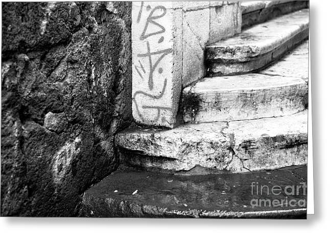 Old Street Greeting Cards - Naples Stone Steps Greeting Card by John Rizzuto