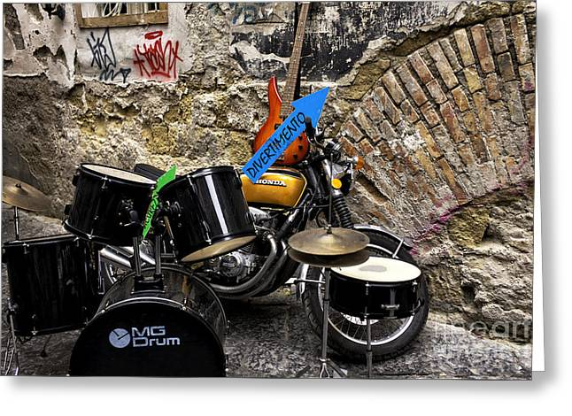 Naples Greeting Cards - Naples Street Music Greeting Card by John Rizzuto